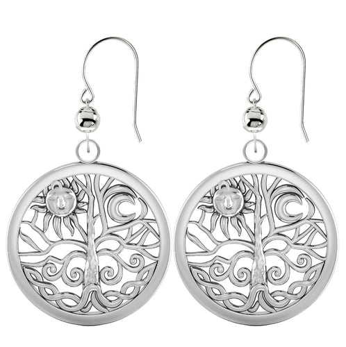 Dangle Earrings Tree of Life 0.925 Sterling Silver