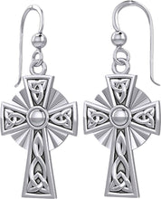0.925 Sterling Silver Irish Celtic Knot Cross Earrings - US Jewels