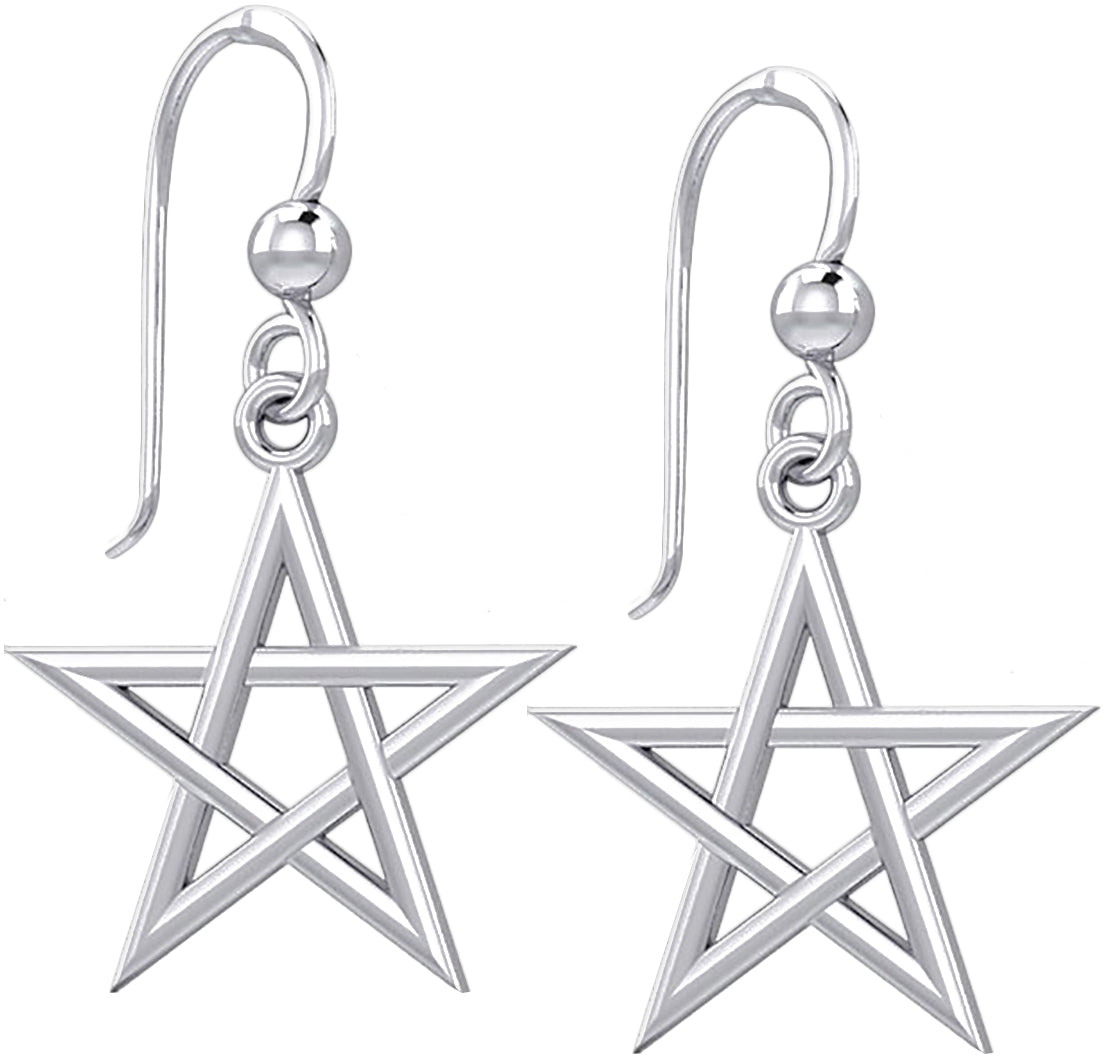Sterling Silver Earrings - Pentagram Earrings For Sale