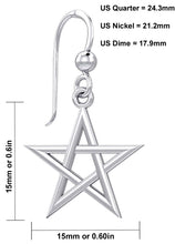 Sterling Silver Earrings With Pentagram Design - Details