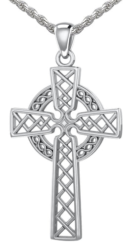 Celtic Cross Necklace - Pendant Necklace With Knotwork