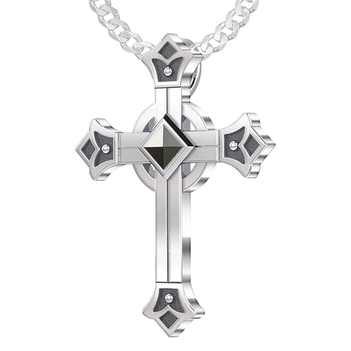Men's 925 Sterling Silver Celtic Cross Pendant, 32mm