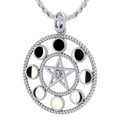 Ladies 925 Sterling Silver 8 Moon Phase Pendant, 25mm