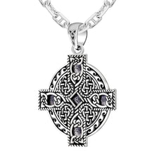 0.925 Sterling Silver Celtic Spiral Knotwork Cross Pendant Charm Necklace