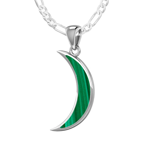 Ladies 925 Sterling Silver Simulated Malachite Magick Crescent Moon Pendant Necklace