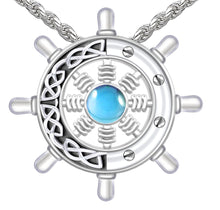 Blue Topaz Necklace - Pendant Necklace With Ship's Wheel