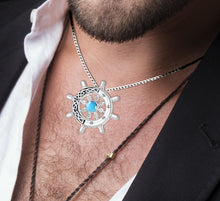 Blue Topaz Necklace With Ship's Wheel - Worn On Neck
