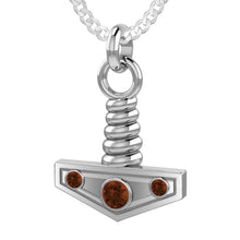 Men's Genuine Garnet Viking Thor's Hammer Pendant Necklace