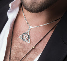 Triquetra Necklace With Celtic Knot - Worn On Neck