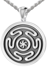 Charm Necklace - Silver Pendant With Wheel of Hecate