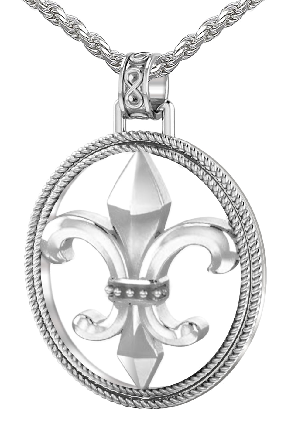 Fleur De Lis Necklace - Silver Pendant In Braided Design
