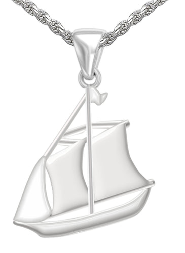 Charm Necklace - Silver Pendant With Schooner Sail Boat
