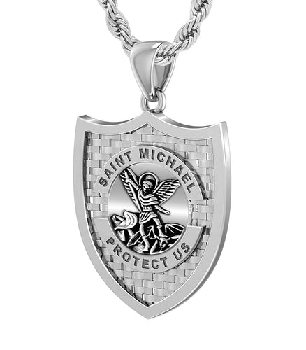 Men's 925 Sterling Silver Saint Michael Antique Finish Pendant, 36mm