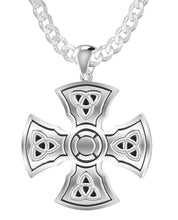 Celtic Cross Necklace With Templar For Men - Curb Chain