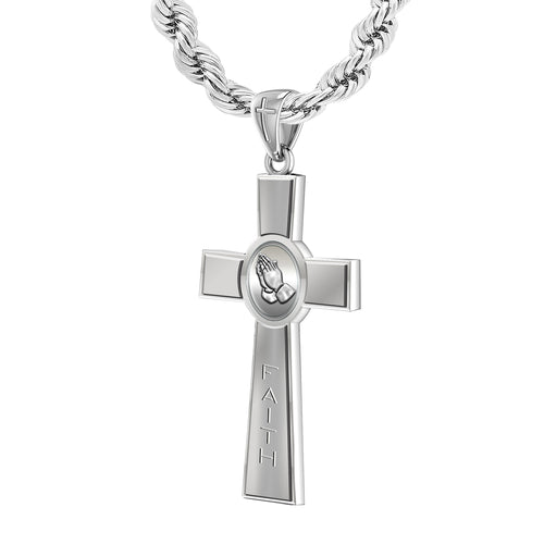 Men's Large 925 Sterling Silver Prayer Faith Cross Pendant Necklace, 45mm