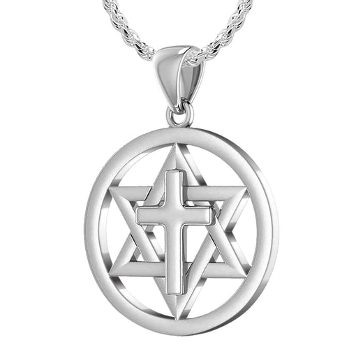 Ladies 925 Sterling Silver Star of David with Cross Jewish Pendant, 24mm