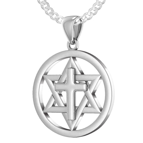 Men's 925 Sterling Silver Star of David with Cross Jewish Pendant, 24mm