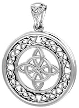 0.925 Sterling Silver Irish Celtic Quaternary Knotwork Pendant Necklace