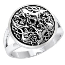 Men's 0.925 Sterling Silver Celtic Knot Horse Ring - US Jewels