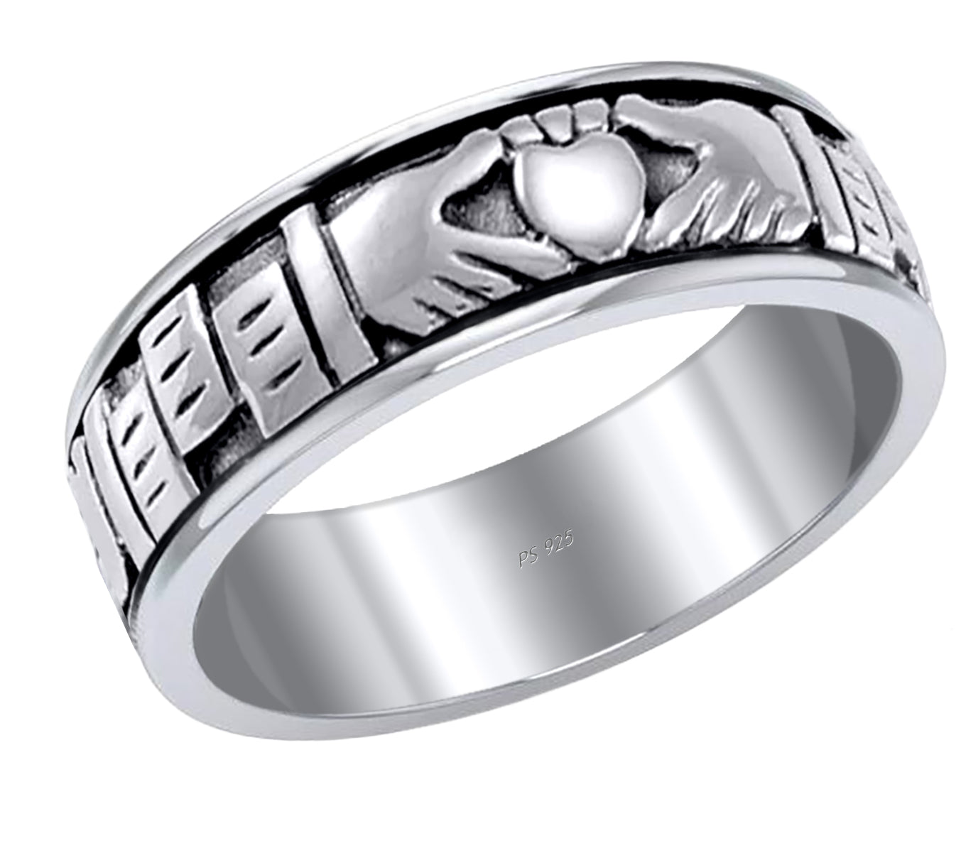 MIrish Celtic Claddagh Spinner Ring Band For Men In Silver