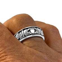 Men wearing Irish Celtic Claddagh Spinner Ring Band