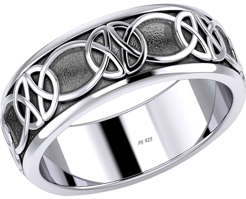 Irish Celtic Knot Spinner Band In 0.925 Sterling Silver