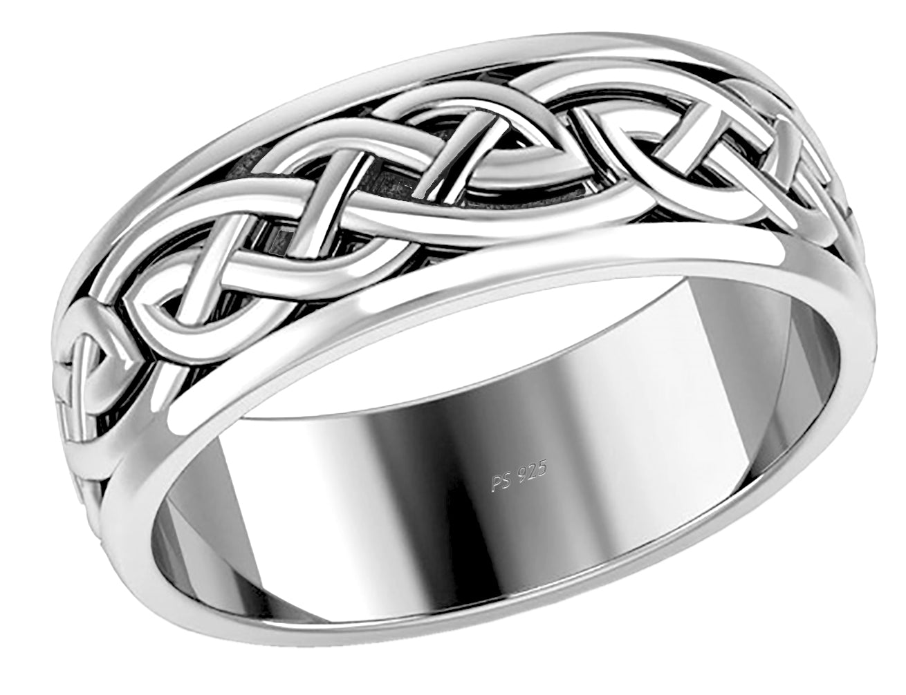 Sterling Silver Irish Celtic Knot Wedding Spinner Ring Band