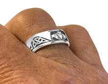 Men wearing Sterling Silver Irish Claddagh & Knot Ring Band