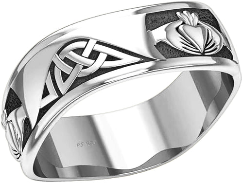 0.925 Sterling Silver Irish Claddagh Ring - US Jewels