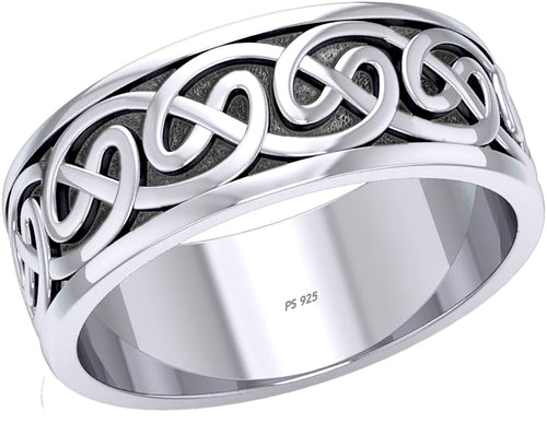 Celtic Knot Ring - Men Ring Band In Sterling Silver