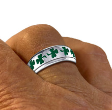 Men's 0.925 Silver Celtic Shamrock 3 Leaf Clover Wedding Band