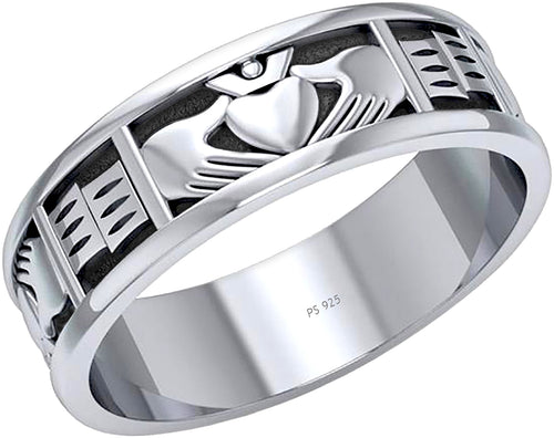 Irish Claddagh Ring Band For Men In 0.925 Sterling Silver
