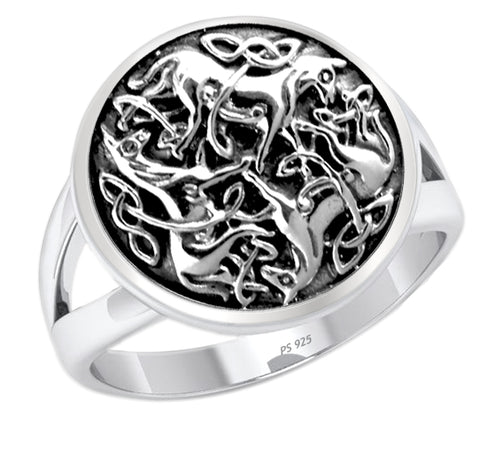 0.925 Silver Irish Celtic Triniy Endless Love Knot Horse Ring