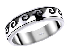 New Men's 0.925 Sterling Silver Ocean Wave Curl Spinner Aquatic Ring - US Jewels