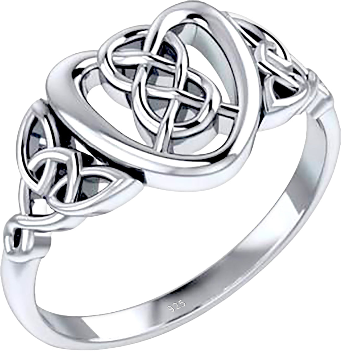0.925 Sterling Silver Irish Celtic Love Knot & Heart Ring