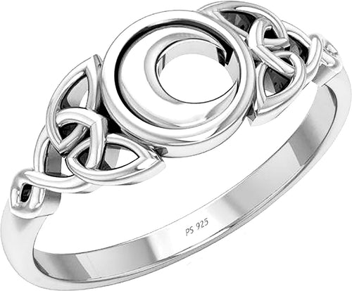 Irish Celtic Trinity Knot & Moon Ring Silver For Ladies