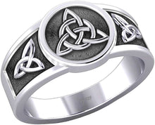 Irish Celtic Trinity & Triquetra Knots Ring in Sterling Silver