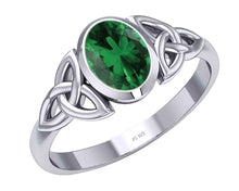 May Birthstone Ring- Irish Trinity Emerald Birthstone Ring