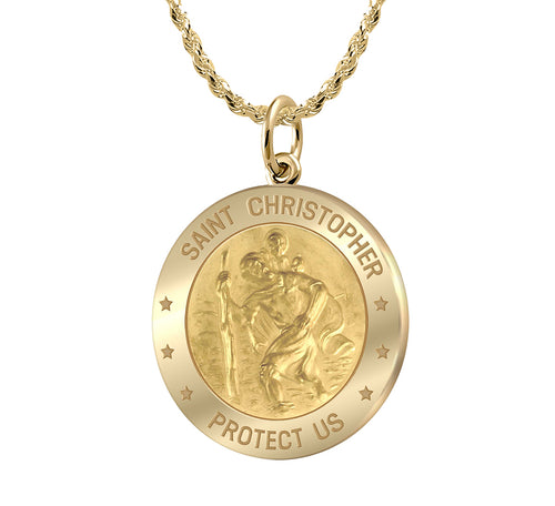 St Christopher Necklace In Round Shape - 1.5mm Rope Chain