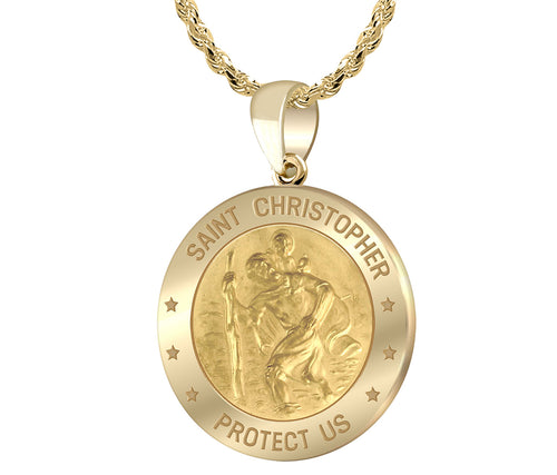 St Christopher Necklace In 14K Gold - 1.75mm Rope Chain