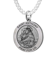 Round Pendant Necklace With St Anthony - 2.2mm Curb Chain