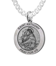 Round Pendant Necklace With St Anthony - 3mm Curb Chain