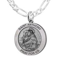 Round Pendant Necklace With St Anthony - 3mm Figaro Chain