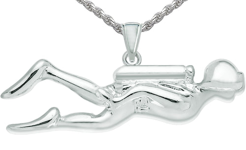 Silver Pendant - Pendant Necklace With Scuba Diver