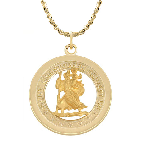 St Christopher Pendant In Gold - 1.50mm Rope Chain