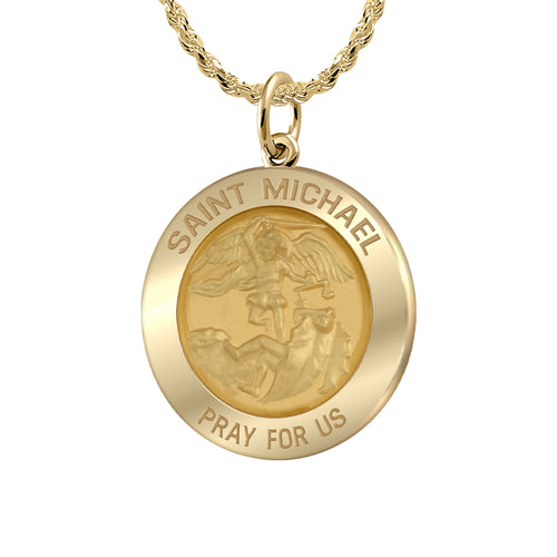 Saint Michael Pendant  In 14K Gold - 1.50mm Rope Chain
