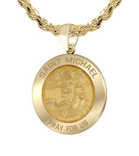Ladies 3/4in 14k Yellow Gold Round St Saint Michael Hollow Medal Pendant Necklace, 18.5mm