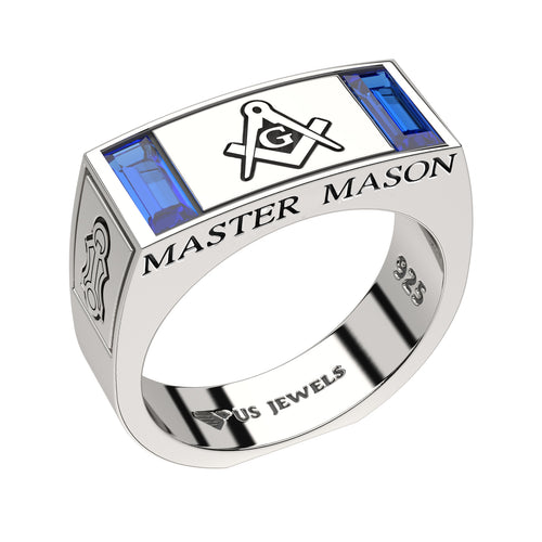 Master Mason Ring Freemason With Synthetic Sapphire