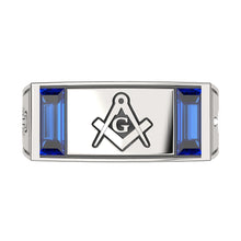 Master Mason Ring Freemason Synthetic Sapphire - Full View