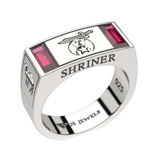 Masonic Ring Freemason Shriner With Simulated Ruby For Men